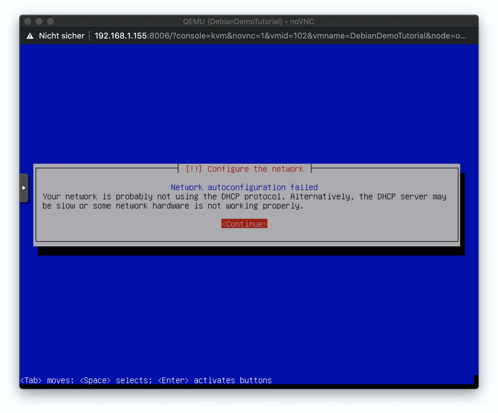 Die Debian VM kann keine Verbindung zum Internet herstellen, da kein DHCP Server eingerichtet ist.